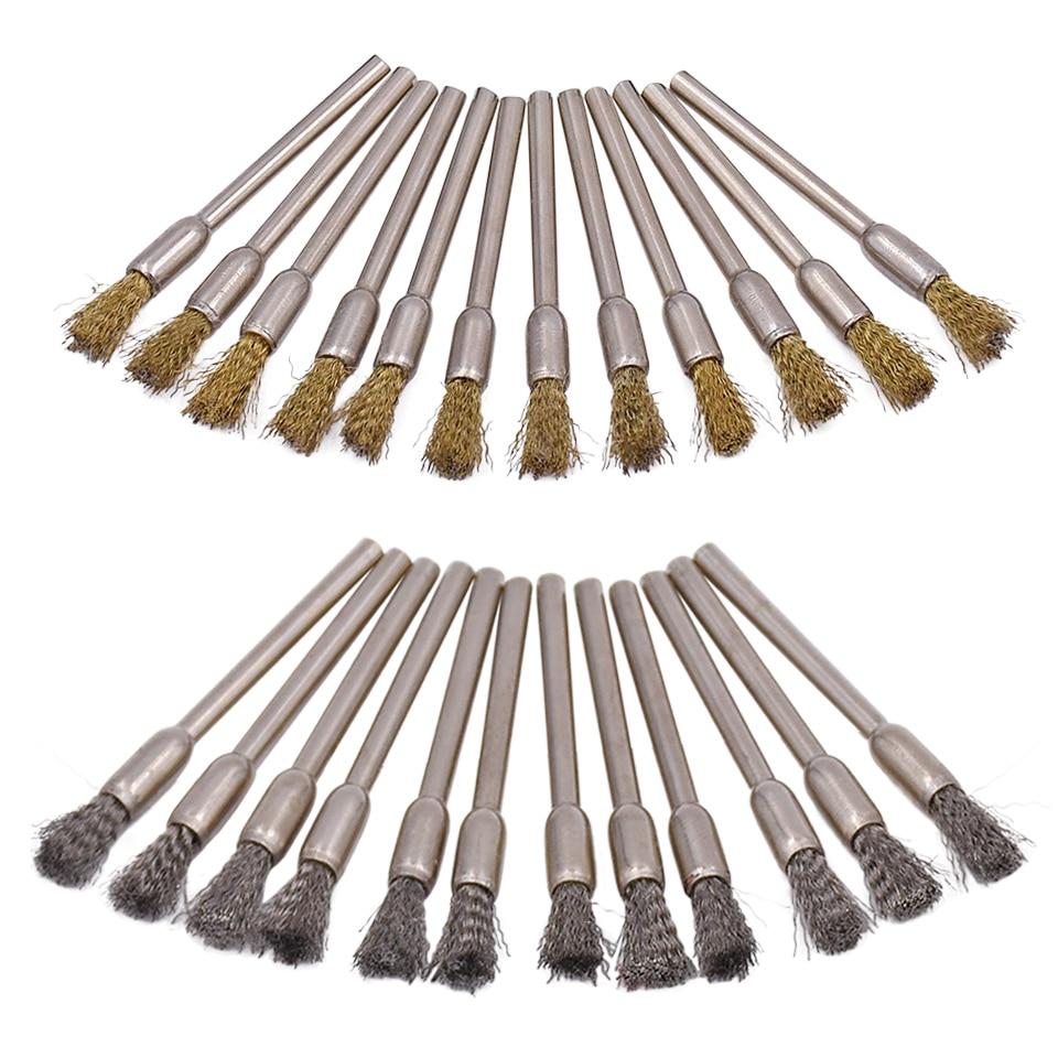 برس سایز 20pcs ابزار ساینده برنجی و فلزی برای ابزارهای چرخشی Dremel برس های چرخ سنگ زنی برای لوازم جانبی Dremel