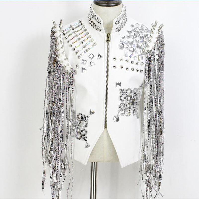 stage dance costumes for singers hip hop wear white silver diamond coat DJ men sexy costumes