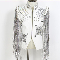 Stage Costumes For Singers Hip Hop Wear White Silver Diamond Coat Men Clothes DJ Dance Costume