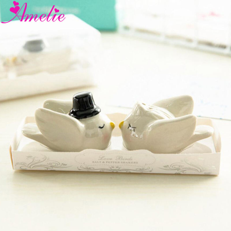 50set 100pcs Wedding Decoration Favors Angel Bird Ceramic Salt And Pepper Shaker Wedding Gifts Bridal Souvenirs