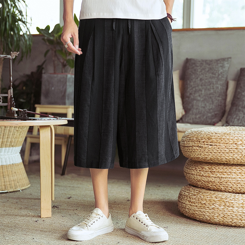 Male Skirt Trousers Thailand Streetwear Travel Wide Leg Pant Men Cotton Linen Casual Loose Stripe Harem Pant