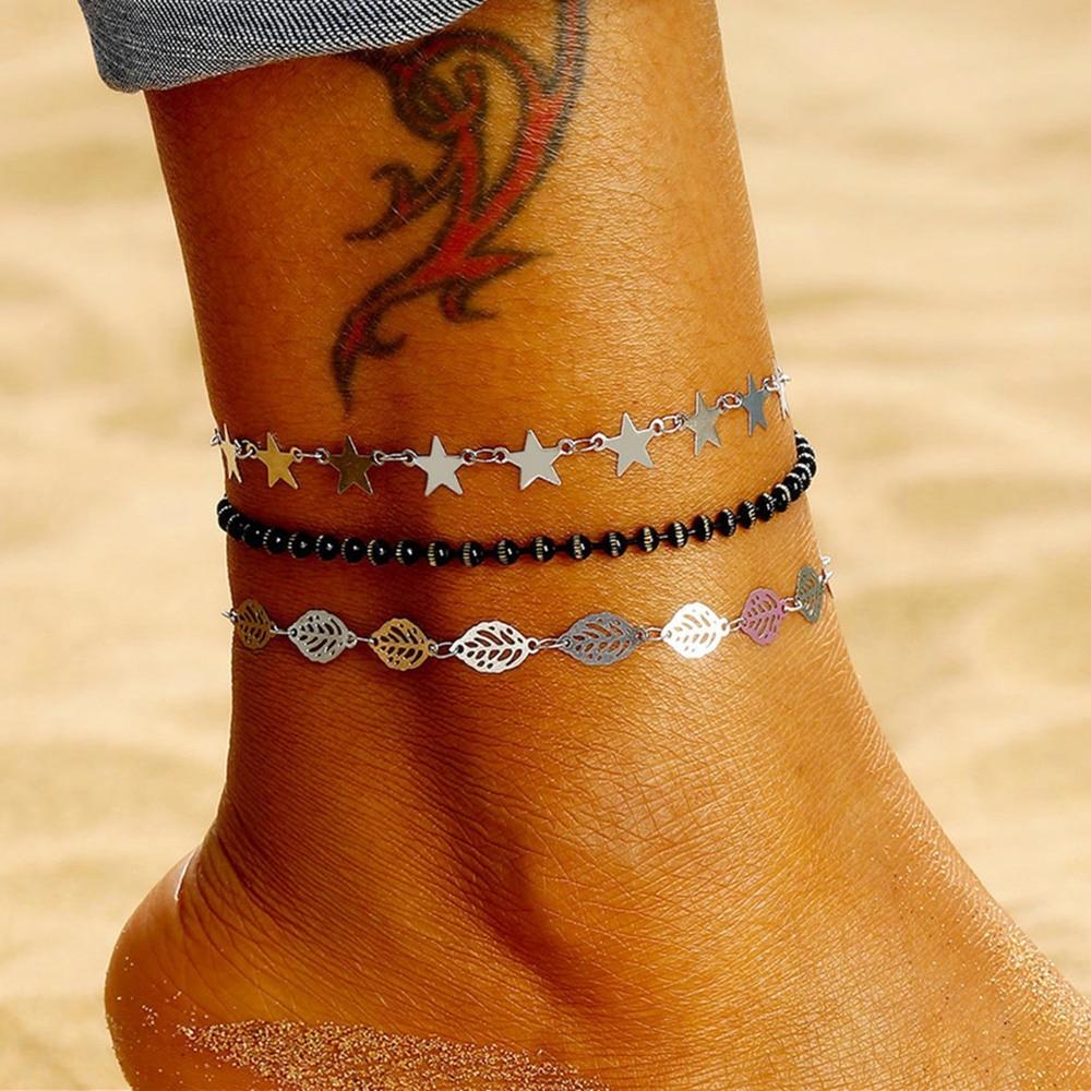 Fashion Bead Anklet Set Bohemian Star Leaf Anklet Bracelet for Women Summer Beach Barefoot Sandals Foot Jewelry 3Pcs/Set