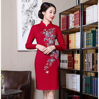 New Arrival Red Embroideries Chinese Style Dress Women Wool Mini Sexy Cheongsam Winter Thick New Lady Flower Qipao M XXL