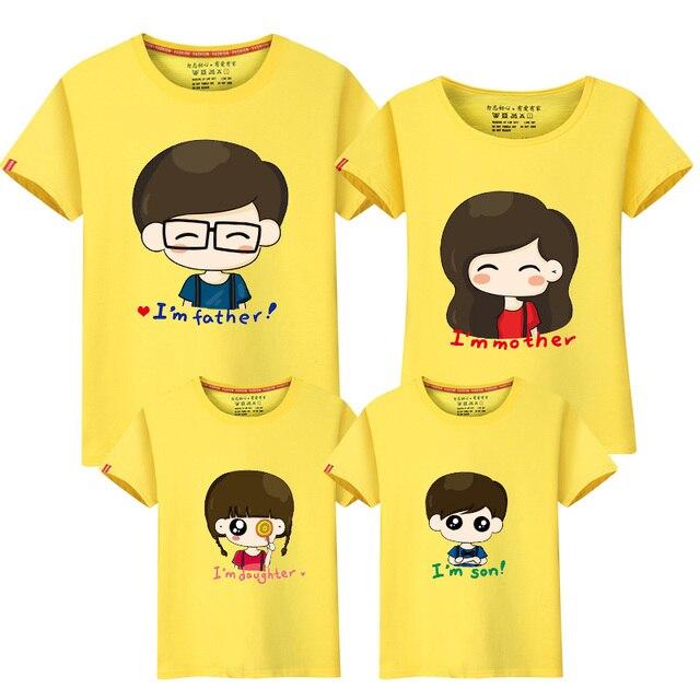 a5982f88e 3 pcs / set Good 95% Cotton Family T Shirts Cartoon Female Male 4xl Girl  Boy Summer Short Sleeve Lover T-Shirts free shipping