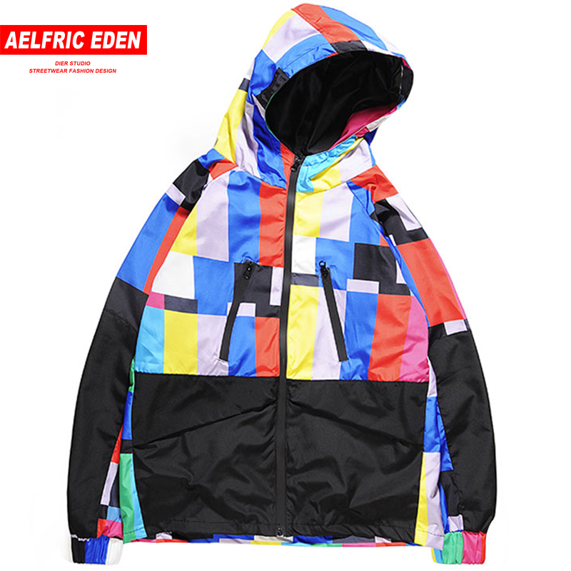 hombres Multi chaquetas Patchwork Color Aelfric bloque Eden Hooded RqYw105