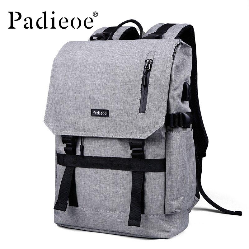 Padieoe Famous Brand Men Waterproof Nylon Backpack Fashion Men 15 Inches Large Capacity Travel Laptop Bag Notebook School Bags padieoe new designer canvas men casual daypacks large waterproof men s backpack famous brand rucksack school bags for men women