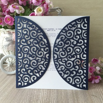 30pcs Wedding Invitations Card Laser Cutting Pearlized Shimmer paper Hollow Birthday Party Dinner Invitation Cover card