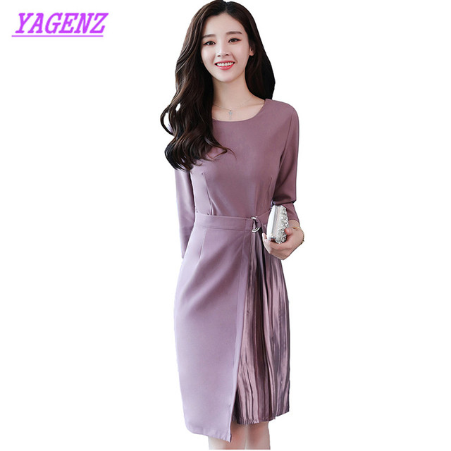 YAGENZ Spring Autumn Irregular Dress Fashion Women Long sleeves Over the  knee Long Dress Young Ladies H type Fake two Dress B520 40f97a1f5