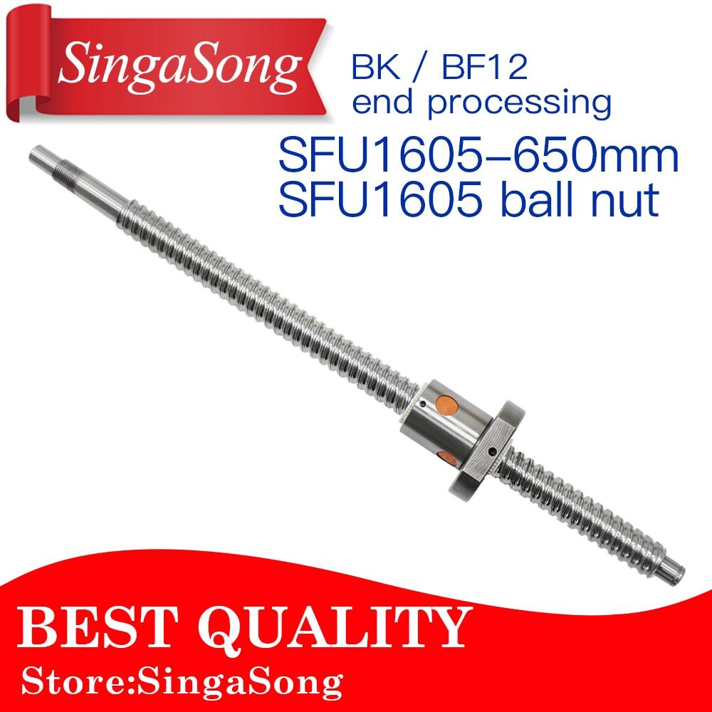 все цены на 16mm 1605 Ball Screw Rolled C7 ballscrew SFU1605 650mm with one 1500 flange single ball nut for CNC parts онлайн