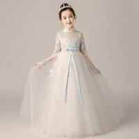 Princess Girl White wedding dress Flower Girls party dress long ball gown