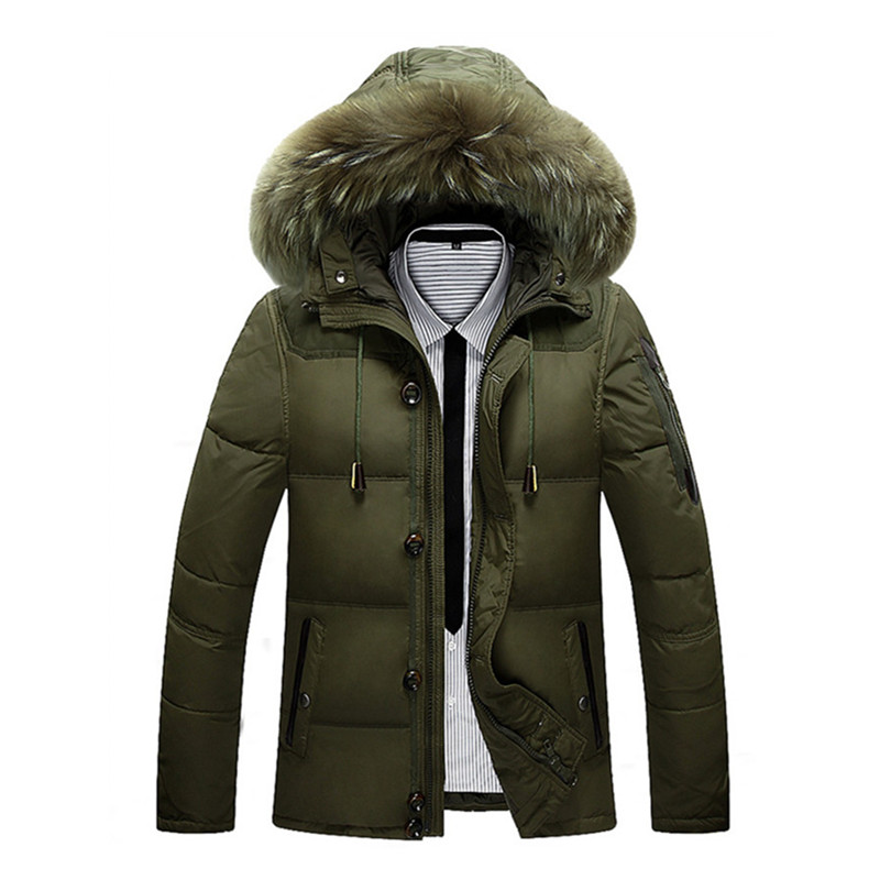 Winter Jacket Men Casual Male Coat Warm Men Zipper Outwear Duck Down Jacket Middle Long Mens Parka With Fur Hood Thick Jackets