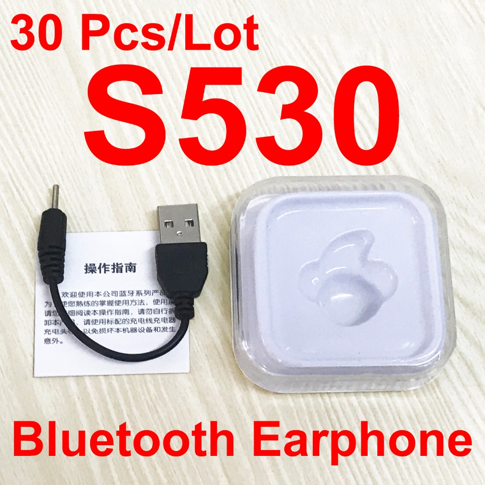 30Pcs Lot S530 Mini Wireless Bluetooth Earphone In Ear Earbuds Headset Headphone Handfree call With Mic
