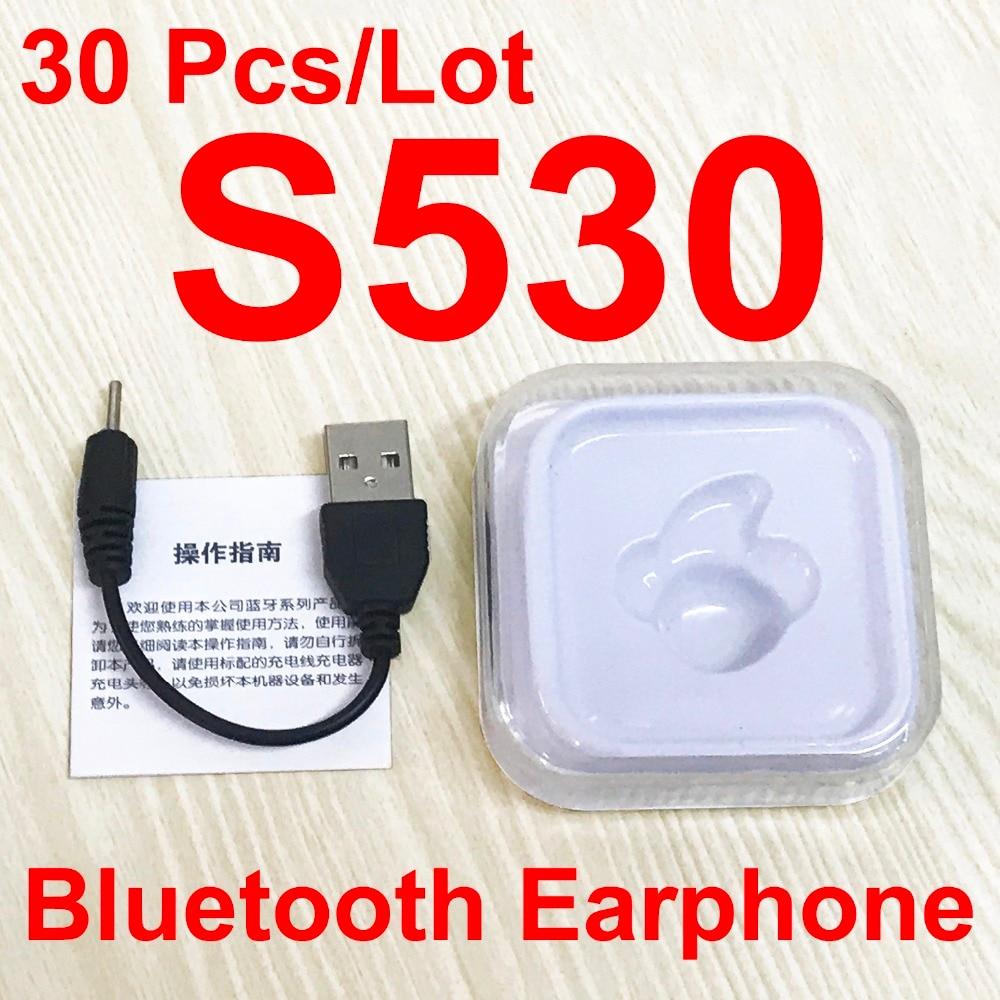 30Pcs Lot S530 Mini Wireless Bluetooth Earphone In Ear Earbuds Headset Headphone Handfree call With Mic
