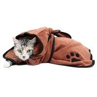 Heißer Verkauf XS-XL Pet Bademantel Warme Kleidung Super Saugfähigen Trocknen Handtuch Stickerei Pfote Katze Hund Haube Bad Hundesalon Produkt