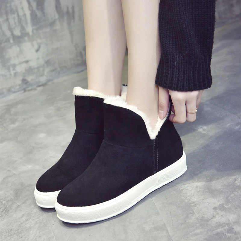 Avrupa 2018 kış yeni kadın botları kar botları siyah platformu ayak bileği moda rahat ayakkabılar Martin çizmeler peluş sıcak kaymaz kayma -on