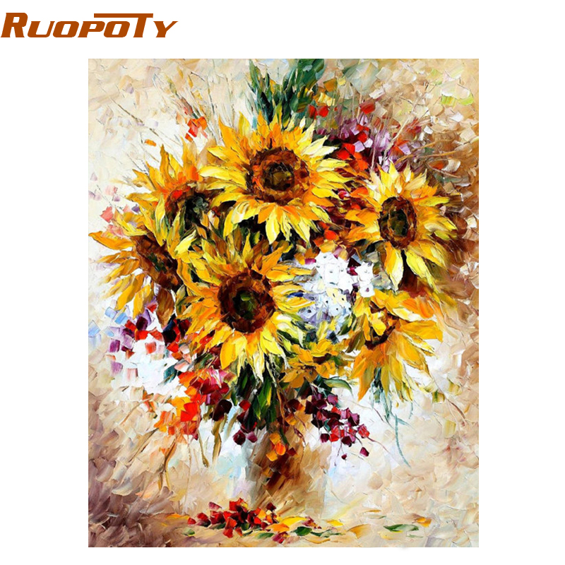 RUOPOTY Frame Yellow Sunflower Diy Digital Painting By Number Acrylic Picture Modern Wall Art Hand Painted Oil Painting For Home(China)