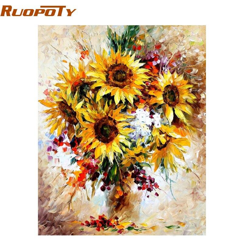 RUOPOTY Quadro Amarelo Girassol Diy Pintura Digital Pelo Número de Acrílico Imagem Arte Moderna Da Parede Pintados À Mão Pintura A Óleo Para Casa