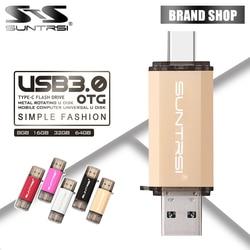 Suntrsi Type-C pendrive 128GB 64GB USB Flash Drive USB 3.0 High Speed 32GB 16GB Type-C OTG for TypeC Phones Real Capacity