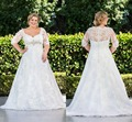 Vintage Lace Plus Size Wedding Dress with Sleeves Beaded Crystal Illusion Back Vestidos de Novia 2017 Custom Made Bridal Gowns