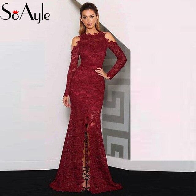 864ca992e2b SoAyle sirène Burgandy robes De soirée manches longues dentelle moulante  Split Vestidos De Festa 2017 longues