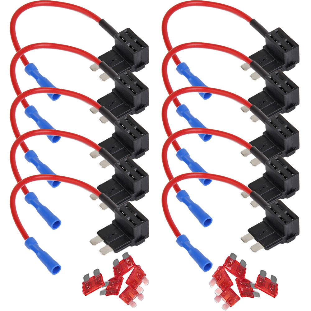 hight resolution of 10 pcs 10a acu car auto fuse adapter add circuit piggy back tap standard blade fuse box holder