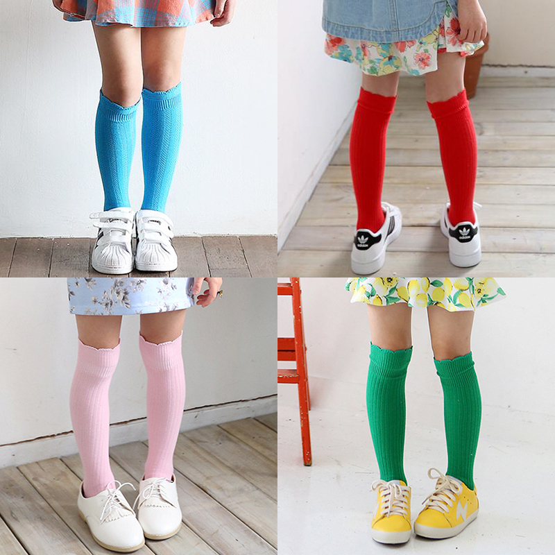 2017-New-Spring-Summer-Baby-Girls-Cotton-Knee-High-Socks-Kids-Toddle-Double-Needle-Short-Socks-1