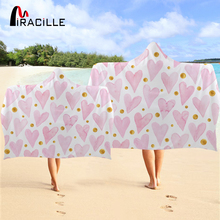 Miracille Pink Heart Wearable Hooded Towel Bohemia Geometric Bathroom With Hood Spot Travel Beach For Girls Kids