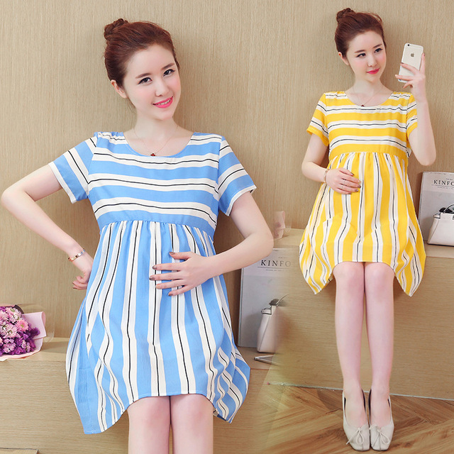 aa1782b210504 Maternity 2018 new Spring and summer New Korean Fashion Chiffon Stripe Maternity  Dress Pregnant Woman Dress