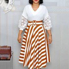 Plus size dress ladies seven points lantern sleeves V-neck lace stitching stripes Micro-Elastic commuter belt summer 2019