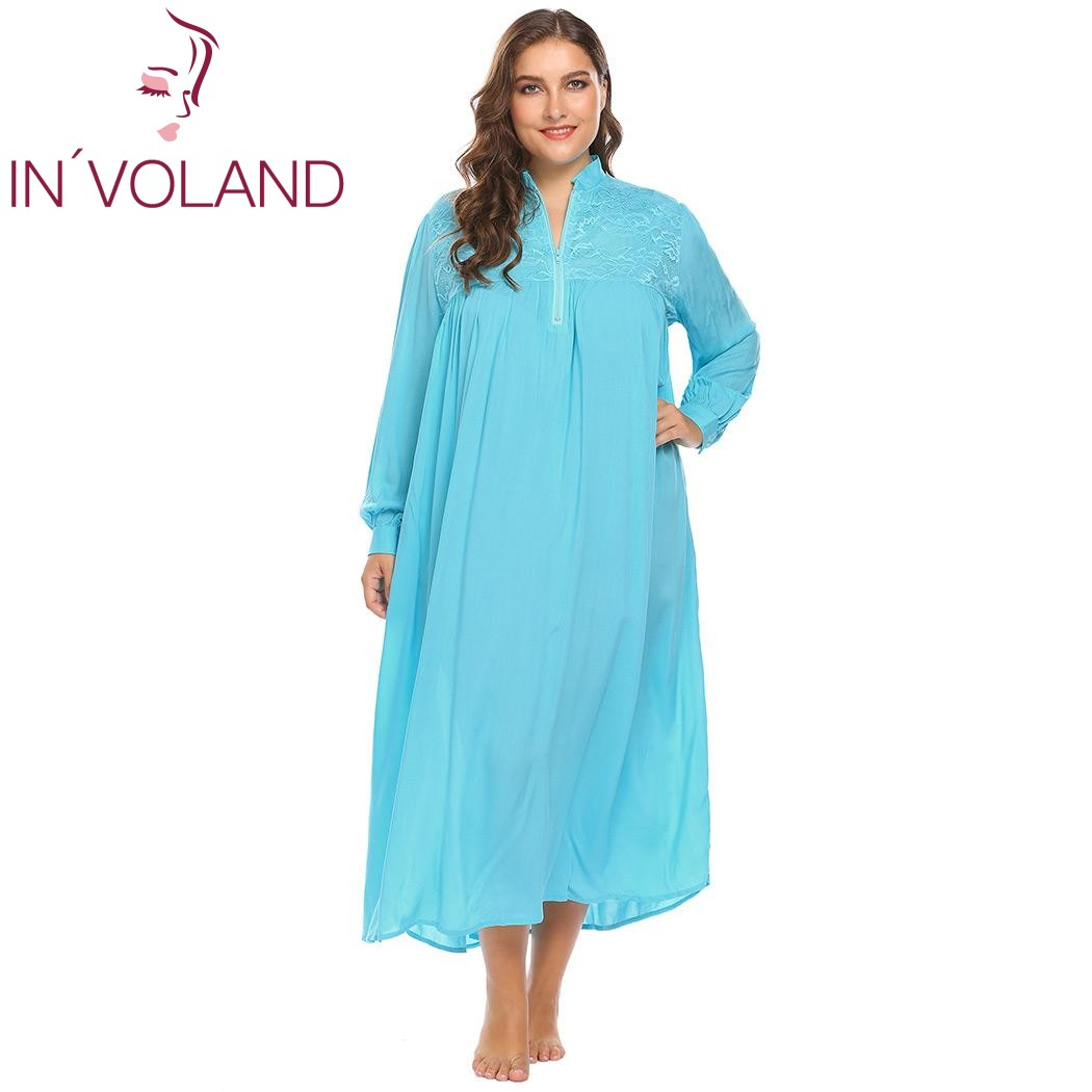 IN'VOLAND Plus Size XL-5XL Women   Sleepshirts   Sleepwear Lounge Lace Patchwork Loose Long Large Gown   Nightgown   Dress Big Size