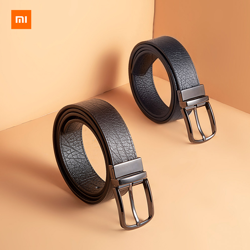 New Xiaomi Youpin VLLICON Double sided rotatable pin buckle belt first layer of leather two color