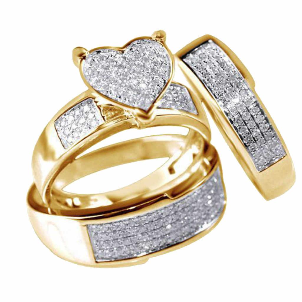 เครื่องประดับ GOLD Finger แหวน Cubic Zirconia หมั้นแหวน 3 ชิ้น/เซ็ตชุดแหวนสำหรับคนรัก