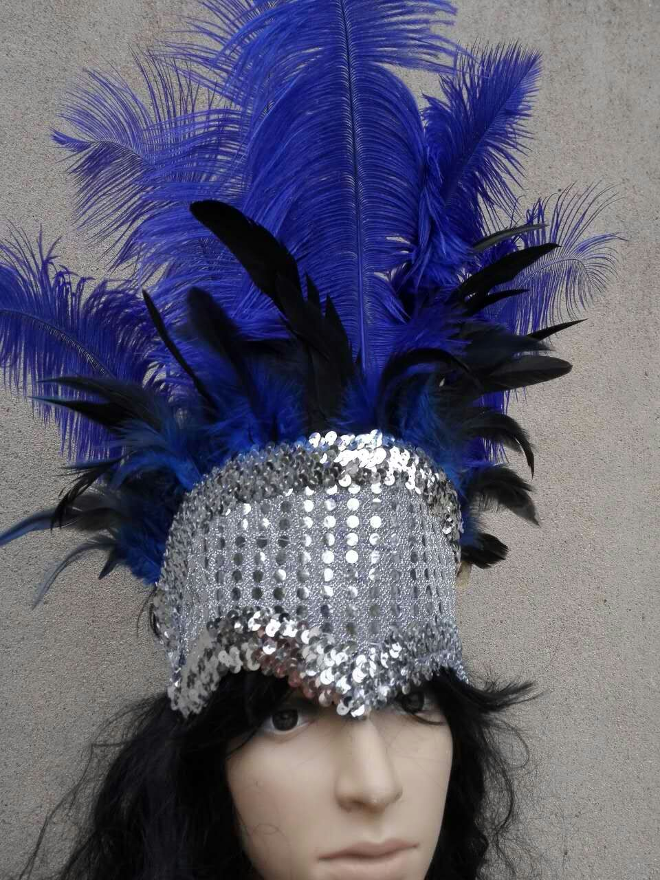 Red Ostrich Feathers /& Pheasant Feathers Sequins Open Face Headdress Show girl