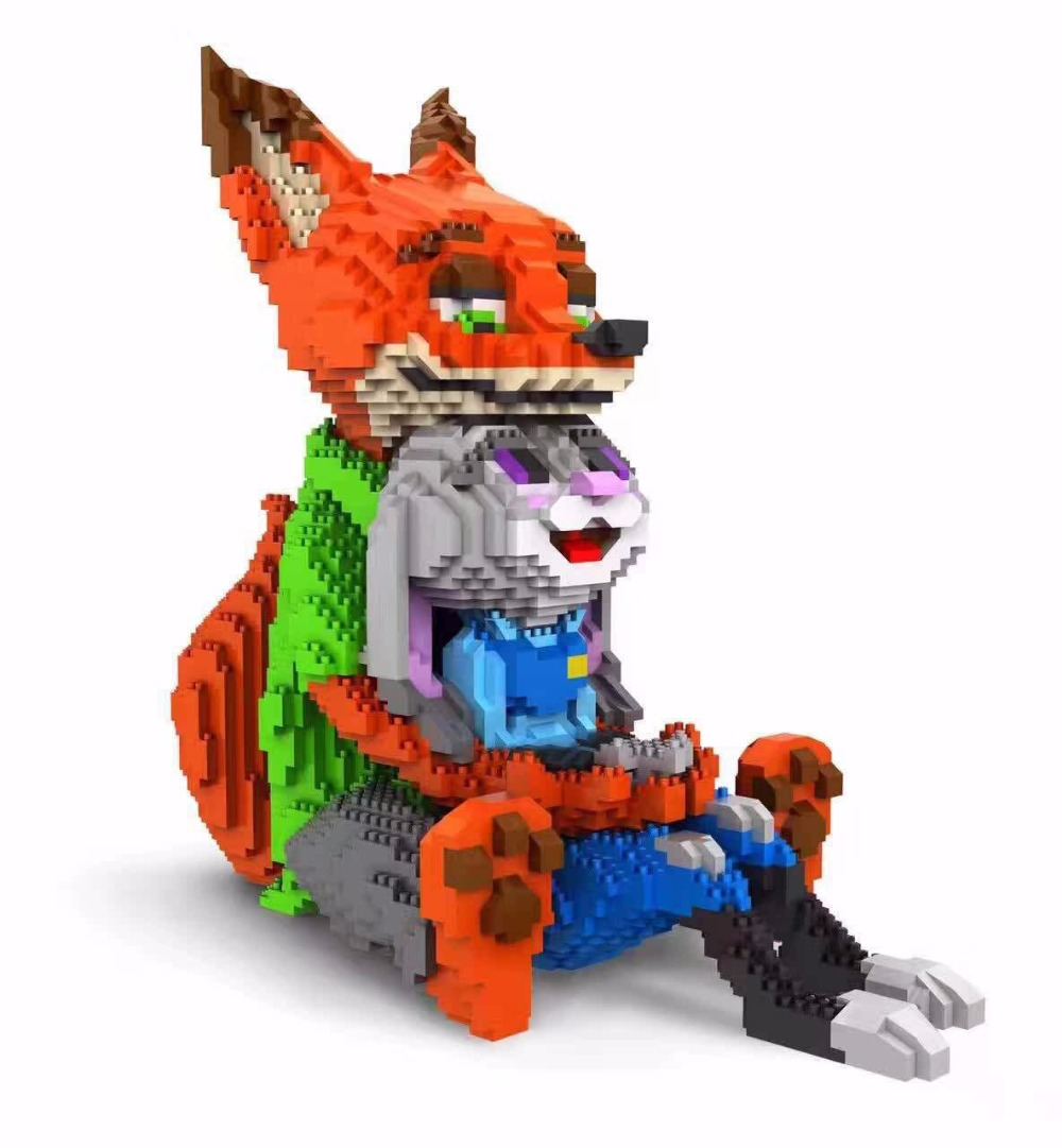 Lovely Cartoon Mini Blocks Fox Anime Blocks Building Toys Zootopia Educational Toy for valentines day Gifts Children Toys 8828 6pcs set zootopia new cartoon action figures light up toys birthday gift zootopia animal nick fox judy rabbit children toys