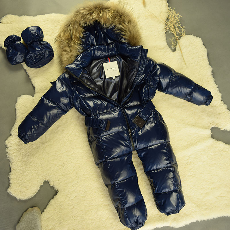 2016Large Raccoon Fur Winter Baby Rompers Clothes Newborn Boys Girls Warm Duck Down Romper Snowsuit Kids Tracksuit Baby Clothing