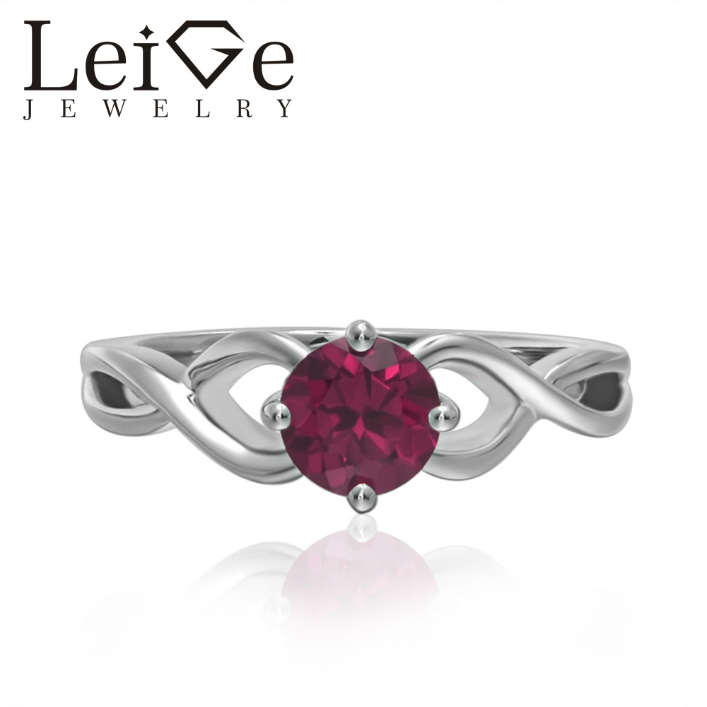Leige Jewelry Round Cut Solitaire Lab Ruby Rings Wedding Rings for Women Sterling Silver 925 July Birthstone