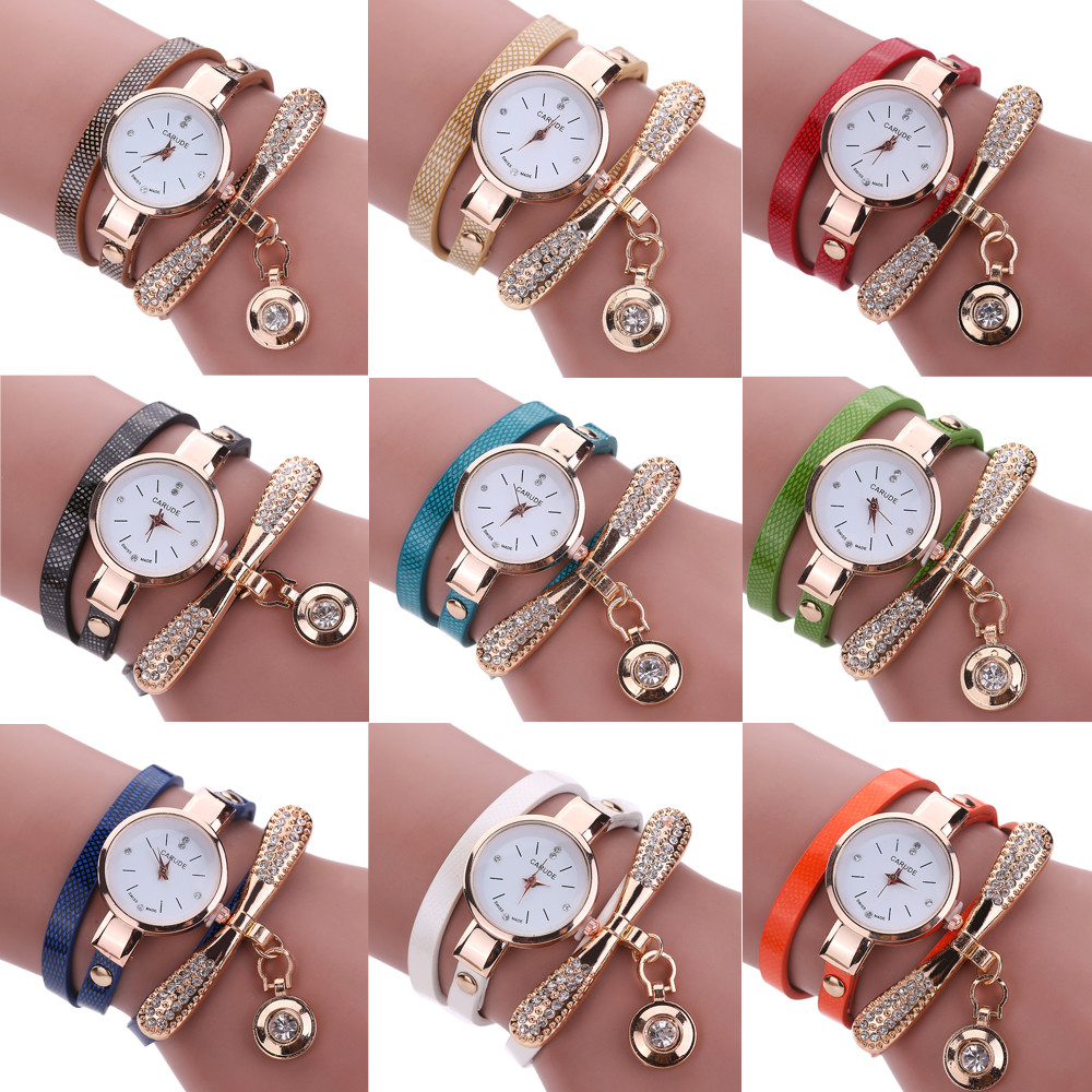 Women Watches Famous Brandes Chimes Student Rhinestone Leather Bracelet Table Clock Relogio Feminino High Quality Quartz Watch