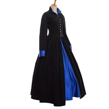 Черный Лолита Викторианский эдвардиан военный Пальто Платье стимпанк пуговицы вниз костюм