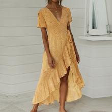 Boho Sexy V Neck Long Maxi Beach Dress Wave Point Wrap Lace Up Casual Short Sleeve Dot Print Bow Women's Summer Ruffles Dresses