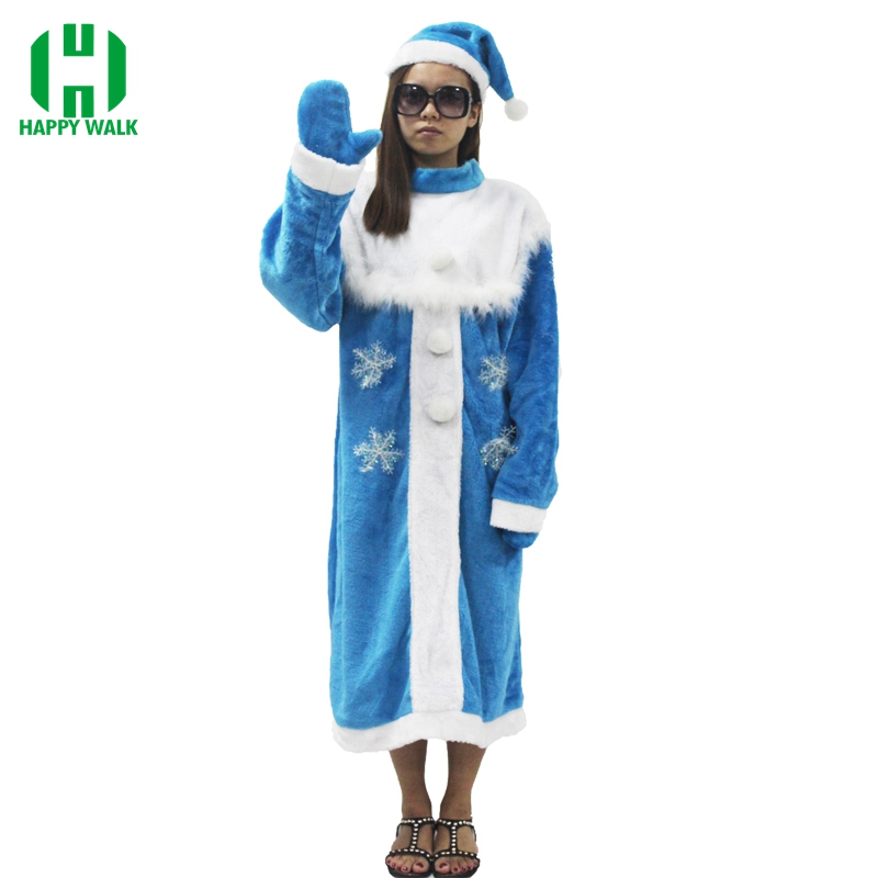 2019 New Arrival Women Snegurochka Christmas Santa Claus Costume Christmas Blue Snow Maiden Cosplay Dress Xmas Costume For Adult
