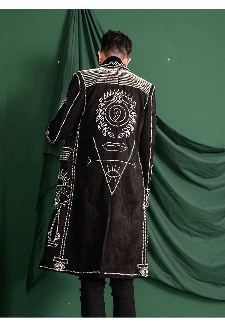 real men Asia size black baroque embroidery beading event/red carpet/stars/luxury long coat/stage performance/studio/dance/club