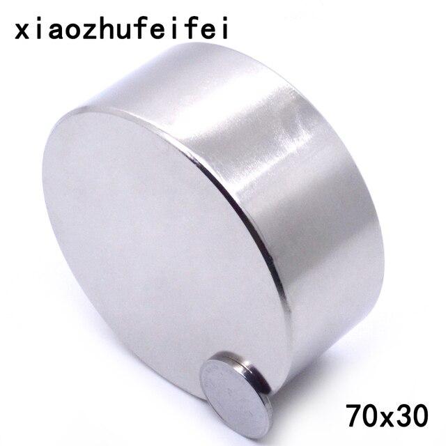 자석 1 개/몫 n52 직경 70x30mm 뜨거운 둥근 자석 강한 자석 희소 한 지구 네오디뮴 자석