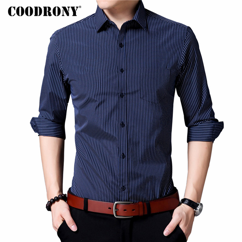 COODRONY Men Shirt Brand Clothing 2018 Classic Striped Business Casual Shirts Camisa Social Masculina Cotton Chemise Homme 8729