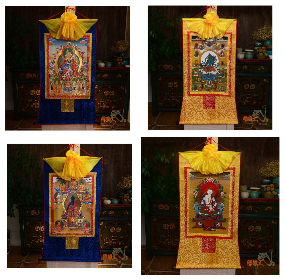 Commercio all'ingrosso Buddista forniture 4P  60 CM Thang ga Thangka efficace Protezione Vajrasattva Guru Rinpoche il Buddha della Medicina di arte-in Pittura e calligrafia da Casa e giardino su  Gruppo 1