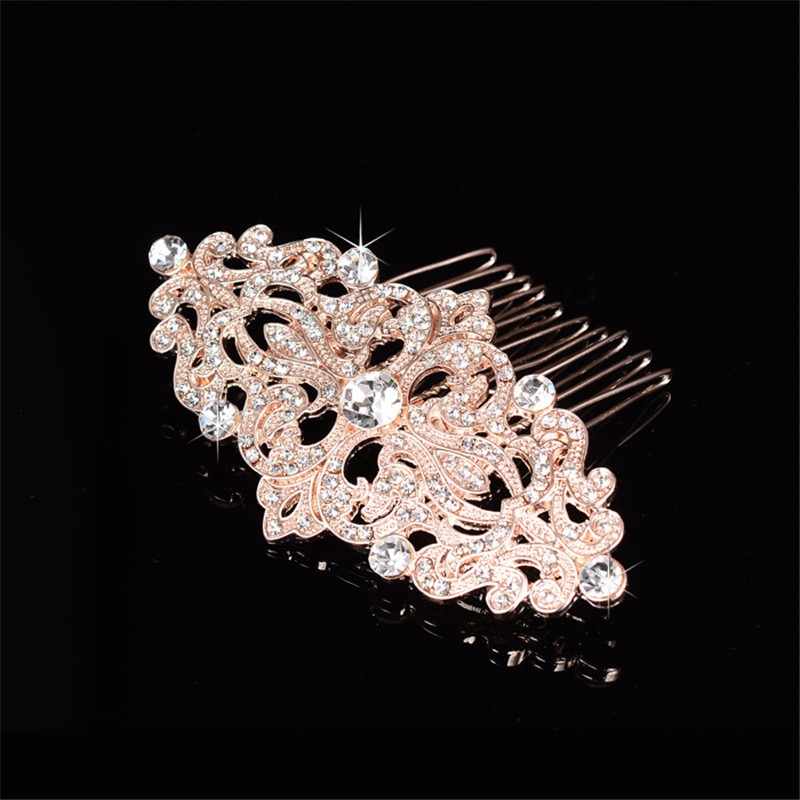 European Design flower Crystal combs hair bands Bridal Rhinestone Rose gold plating Women font b Jewelry