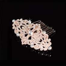 European Design flower Crystal combs hair bands Bridal Rhinestone Rose gold plating Women Jewelry Decor Wedding hair accessory