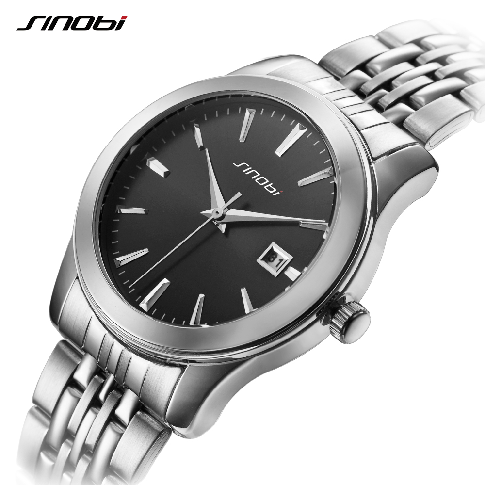 SINOBI Men Watches Business Steel Watch Brand Luxury Famous Date Wristwatches For Man Clcok Quartz-watch Relogio Masculino 2017