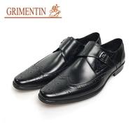 GRIMENTIN buckle men wedding shoes black brown leather formal shoes
