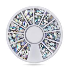 DIY nail art decorations Wheel AB ellipse Acrylic crystal Nail Glitter Rhinestones Tools