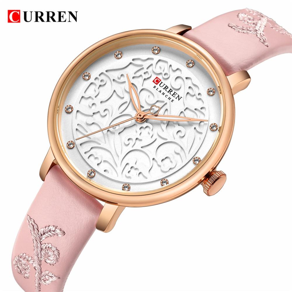 Top Brand CURREN Women Watches Pink Leather Wristwatch with Rhinestone Ladies Clock Fashion Luxury Quartz Watch Relogio Feminino-in Women's Watches from Watches